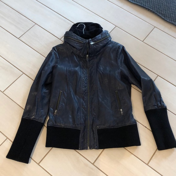 Mackage Leather Jacket Faux Hood